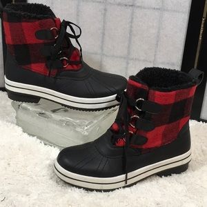 Madden Girl red plaid duck boots